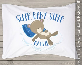 Personalized sleep baby boy or girl night time pillow custom childrens pillowcase PIL-043