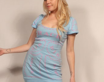 Blue Cuts of Meat dress MADE TO ORDER