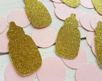 Baby bottle confetti.  Baby shower confetti. Baby shower decorations. Baby girl, baby boy. Gold glitter, silver glitter. Pink, blue, mint.