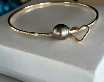 Gold Filled Tahitian Pearl Bangle