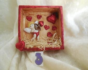 Valentine Magnets, Hand Made Valentine Refrigerator Magnets , Ceramic Shadow Box Valentine Magnets, Cupid Magnet, Heart Magnet