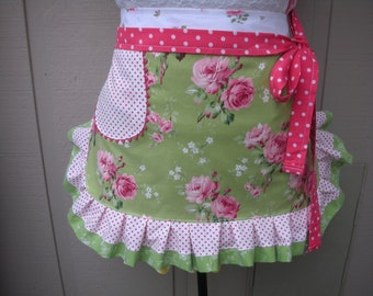 Womens Aprons - Green Apron with Pink Roses - Handmade Aprons - Pink Roses Apron - Shabby Chic Apron - Annies Attic Aprons - Handmade Aprons