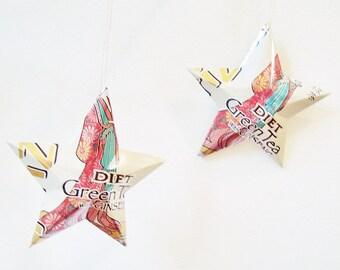 DIET Arizona Green Tea with Ginseng Stars AZ Ornaments Soda Can Upcycled