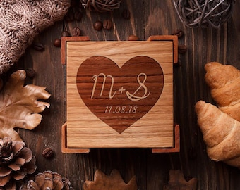 Custom coasters Engraved coasters Wedding coasters favor Bridal shower gift Wood coasters Personalized coasters set Wedding shower gift