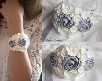 grey peony bracelet, flower bracelet, grey, bride bracelet, ivory corsage, bridesmaids peony, grey corsage, white corsage, grey and ivory