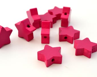 1 dark pink star wooden bead