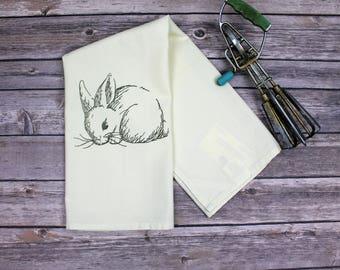 Kitchen Dish Towel - Rabbit Tea Towel - Hand Towel - Kitchen Towel - Dish Towel - Bunny Sketch