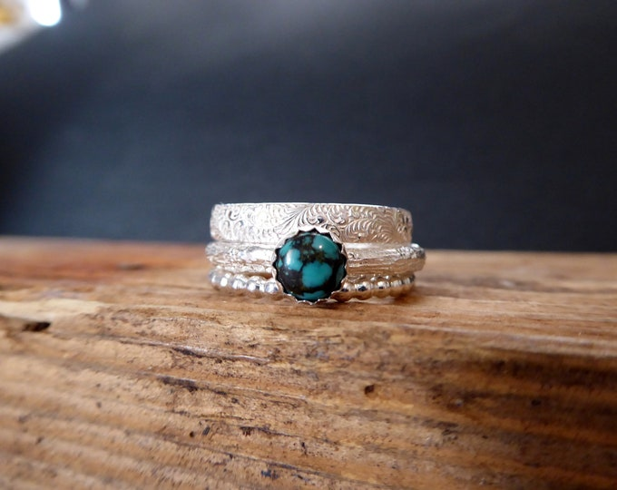 Turquoise Stack Rings Natural Turquoise Summer Jewelry Gifts for Her Boho Chic December Birthstone