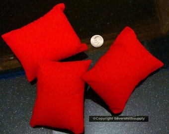 "3 RED velvet bracelet watch pendant display pillows 3 1/4""x2 3/4""x1 5/8"" JD004"