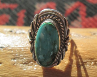 Vintage Turquoise and Sterling Silver Ring Size 6 3/4