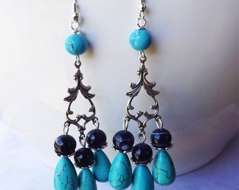Purple & Turquoise Teardrop Earrings