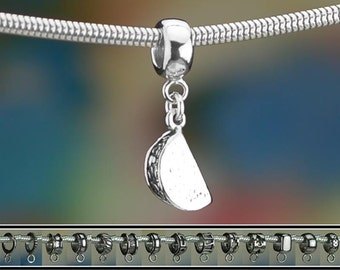 Sterling Silver Taco Charm or European Style Charm Bracelet Solid .925