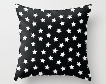 Black and White Pillow - Stars Pillow - Kids Pillows - Modern Decorative Pillows - Velveteen Pillow Cover - Modern Kids Decor - Gift Ideas