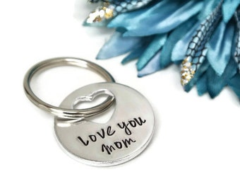 Love You Mom Hand Stamped Keychain | Gift For Mom | Mom Gift | Mothers Day Gift | Aluminum Keychain | Gift For Mom From Daughter