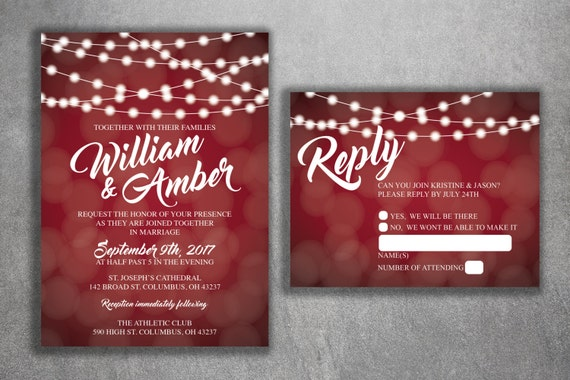 Cheap Wedding Invites Online: Red And White Lights Wedding Invitations Set Printed Cheap