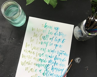 Custom Watercolor Quote | Colorful | Handmade | Brush Calligraphy | Brush Lettering | Handwritten | Choose Your Style | Gift
