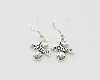 Softball Earrings, I love softball, Softball Jewelry, I heart Softball, Softball Gifts, Softball jewellery