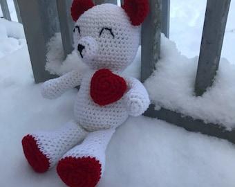 Valentine's Day Bear - Valentine Bear - Valnetines Day - Love Bear - Heart Bear - Teddy Bear - Red and White Bear *READY TO SHIP*