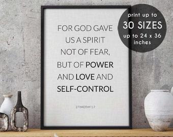 2 Timothy 1:7, Power, Love, bible print, bible verse print, scripture print, scripture art, bible art, bible verse art, instant download, 26