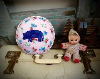 Pig Silhouette Applique Round Cushion, OOAK Statement Cushion, Throw Pillow, Child's Cushion, Handmade Cushion