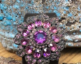 Gothic Black and Purple Vintage Rhinestone Brooch Leather Cuff Bracelet, Jeweled Cuff Bracelet, Jeweled Leather Cuff, Free Shipping