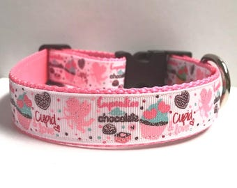"""1"""" Cupcakes and Chocolate, Cupid and Love Collar"""