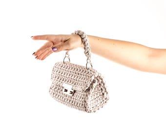 Small clutch, party clutch, crocheted handbag, knitted bag, fashion clutch, beige color clutch, boho clutch, evening bag, designed bag