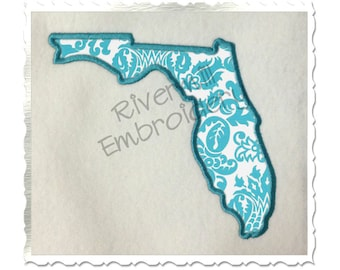 State of Florida Applique Machine Embroidery Design - 4 Sizes