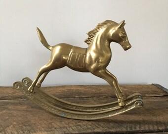 vintage brass rocking horse figurine equestrian nursery decor