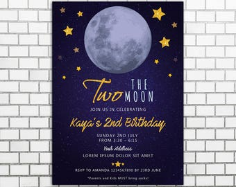 Love You TWO the Moon and Second Birthday Invitation, Moon and Stars 2nd Birthday Invitation, two the moon birthday invitation, 2nd birthday