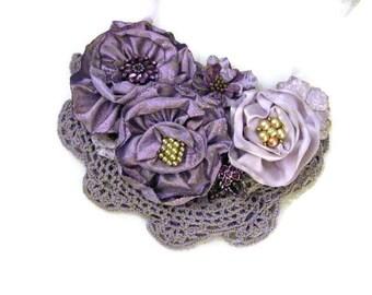 Flower Bib Necklace Floral Bib Statement Necklace Lavender Necklace