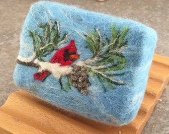 Felted Soap - Winter Cardinal on Pine Tree Brach - Scented in a spicy fragrance blend