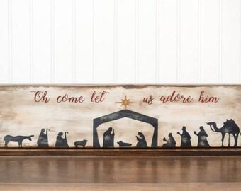 Manger Art, Wooden Nativity Set, Nativity Mantle, Wood Nativity Scene, Rustic Christmas