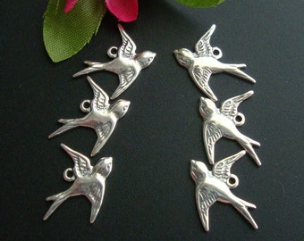 6 pcs - 3 left 3 right, Pure 925 Sterling Silver Lightly Oxidized Victorian style Swallow, flying left sparrow, bird Charms