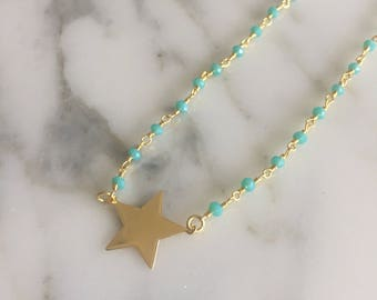 Rosary choker with golden Star, heart or circle.