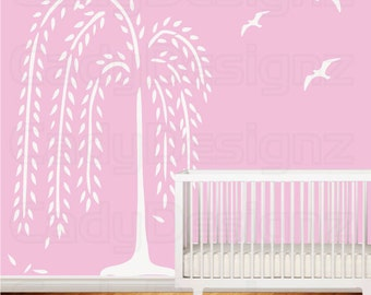 Weeping Willow Tree Decal - Nursery Decor - Modern Vinyl Tree Wall Art -  Birds - 7 Ft