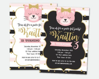Kitty Invitation, Cat Invites, Kitty birthday Party, Cat adoption birthday party, Digital, 2 Options