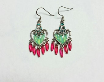 Mint green and magenta heart shaped dangle earrings