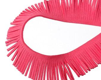 FIL52 20 cm red pastheque suede fringe
