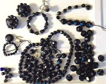 SALE Vintage Bohemian Jet Glass or Czech Mourning Beads Loose Black Faceted Beads Necklace Victorian Mourning Beads Edwardian Goth Necklace