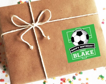Soccer Birthday Stickers, Personalized Gift Labels, Custom Gift Stickers for Kids