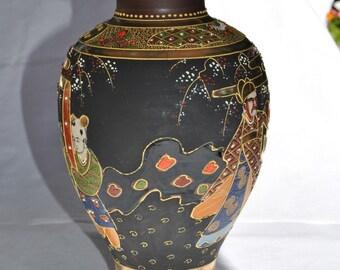 Japanee Vintage Hand Painted Mosaic URN Mult-Vibrant Colors - JAPURN1580