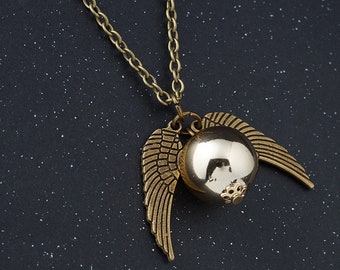 Harry Potter Snitch Necklace Hogwarts, Students Gift, Quidditch, Gifts,