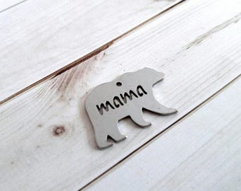 Mama Bear Pendant Mama Bear Charm Word Charm Quote Charm Word Pendant Animal Pendant Grizzy Bear Charm Mama Charm Silver Bear Charm