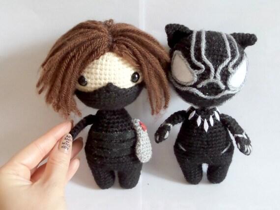 Amigurumi black doll : Cloth doll rag doll amigurumi art crochet doll lady in a