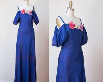 1930s Cobalt Blue Dress / 30s Off The Shoulder Evening Gown