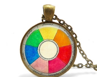 Retro artist necklace, vintage French color wheel pendant necklace, artist gift for art teacher.
