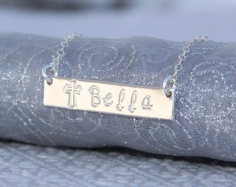 Communion/First Holy Communion/1st Communion/Bar Necklace in Sterling Silver/Thick 18g Trendy/On Trend/Necklace