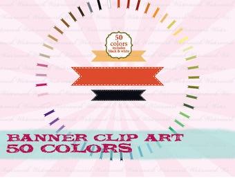 Clip Art Ribbon digital ribbon  scrapbooking flag, banner clip art, digital clipart : c0079  v301 black