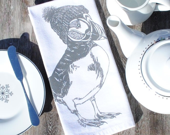 Gray Puffin Cotton Napkins - Screen Printed Winter Cotton Napkins Set of 4 - Reusable Cotton - Winter Cotton Napkins - Unique Christmas Gift